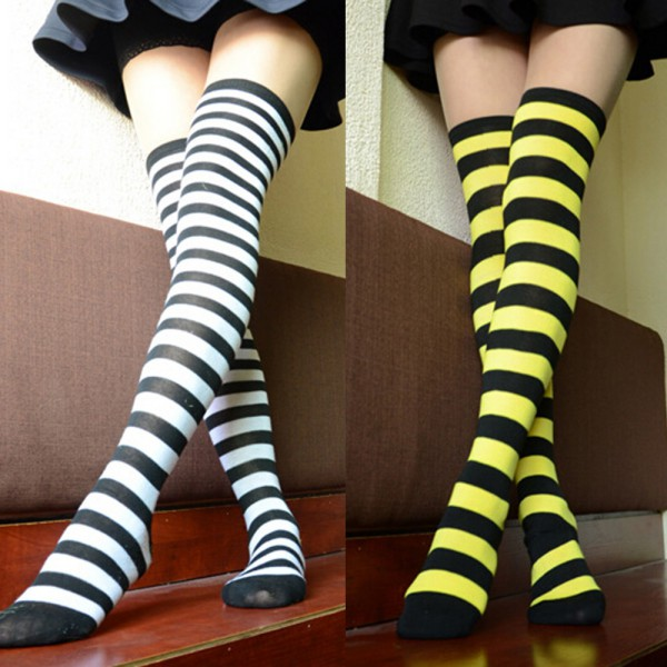 Over the Knee Thigh High Hi striped socks 6 colors