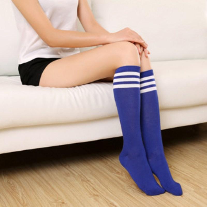 Women Slim Knee High Striped Socks Girls Over The Knee Long Warm Sport Stockings