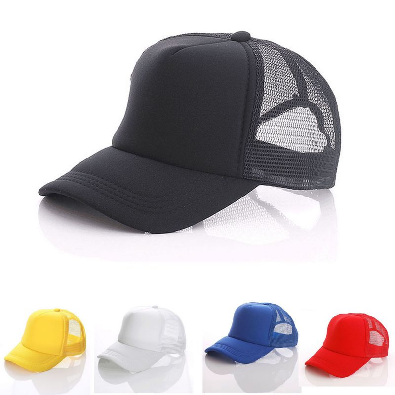 6f9f04a4 Details about Men Women Kids Mesh Trucker Cap Plain Baseball Cap Blank  Curved Sport Hiking Hat