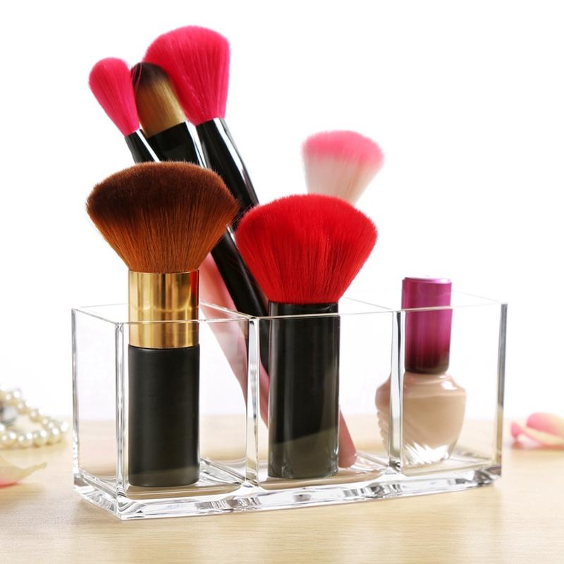 Fashion 3 Slot Vencer Makeup Brush Holder Organizer Acrylic Cosmetics Brushes 1