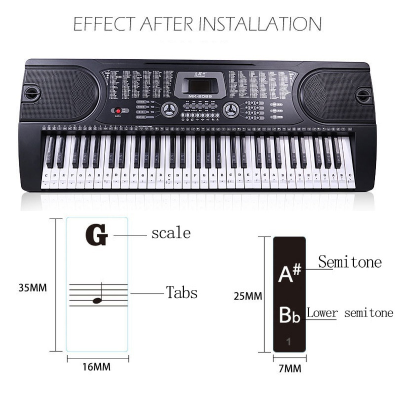Transparent-amp-Removable-Piano-Stickers-Decal-For-88-61-54-49-Key-Keyboards-US thumbnail 14