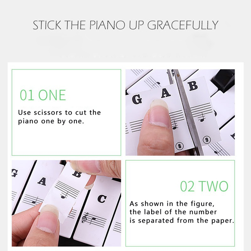 Transparent-amp-Removable-Piano-Stickers-Decal-For-88-61-54-49-Key-Keyboards-US thumbnail 15