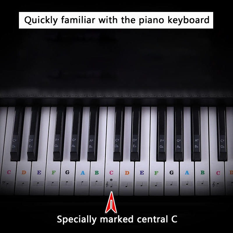 Transparent-amp-Removable-Piano-Stickers-Decal-For-88-61-54-49-Key-Keyboards-US thumbnail 19