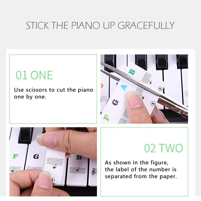 Transparent-amp-Removable-Piano-Stickers-Decal-For-88-61-54-49-Key-Keyboards-US thumbnail 20