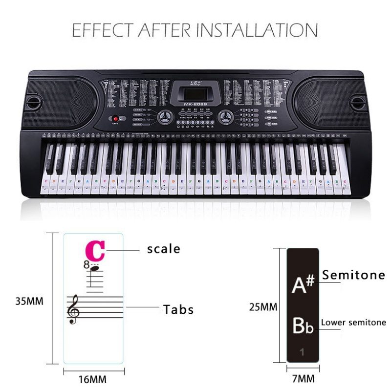 Transparent-amp-Removable-Piano-Stickers-Decal-For-88-61-54-49-Key-Keyboards-US thumbnail 22